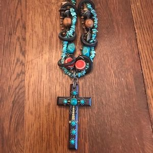 Turquoise and Wood beaded cross necklace